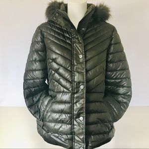 KENNETH COLE QUILTED PUFFER FAUX FUR HOODED JACKET